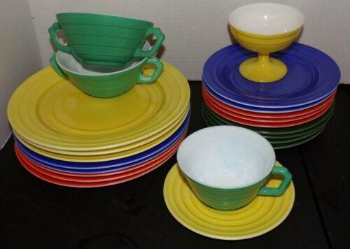 Vintage Lot 22pc Hazel Atlas Moderntone Platonite Rings Milk Glass Plates Cups