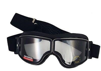 Retro Motorradbrille Piwear Boston Black Gun Metal klares Glas Überbrille