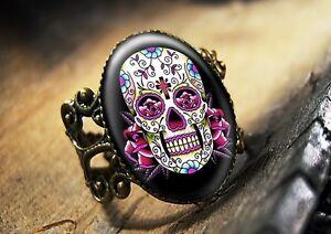 Dia-De-Los-Muertos-Pink-Sugar-Skull-Bronze-Ring-65-4-AR