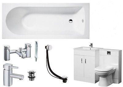 Bathroom Suite 1700mm Bath 600 Turin Vanity Unit 500x200 WC Unit BTW Pan Taps