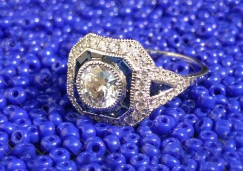2 Ct Art Deco Engagement Ring Vintage CZ Round Cut & Sapphire Sterling Silver