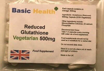 GLUTATHIONE x 60 Capsules 500mg Reduced Vegetarian Antioxidant Immune Whitening