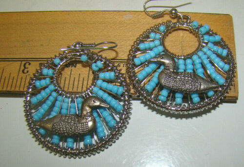 """Blue BEADED Silver 1 1/2"""" Round with LOONS EARRINGS New"""
