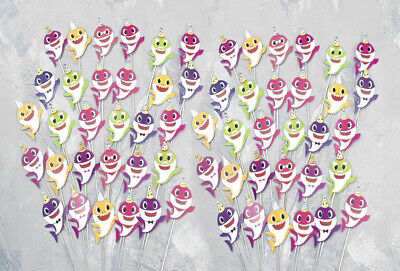 60pc Baby Shark Family Cupcake Toppers for Kids Birthday Party Supplies - USA - Cupcake Birthday Party
