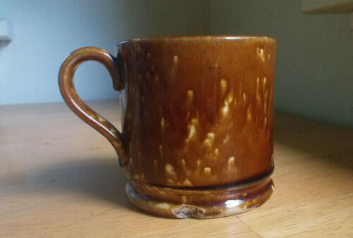 1860s YELLOWWARE ROCKINGHAM BROWN GLAZED MUG APPLIED HANDLE CIVIL WAR ERA