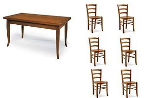Set tavolo cucina 6 sedie in legno fondo legno noce for Set sedie cucina