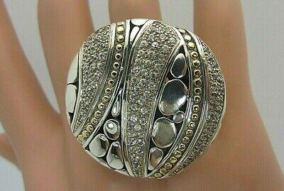 John Hardy 18K Gold Sterling Silver Ring Kali White Sapphire Pave large