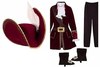 Disney Store Captain Hook COSTUME Suit + HAT All Sizes NEW Pirate NEW - Captain Hook Hat