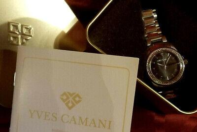Damen Armbanduhr YVES CAMANI Montpellier Silbern Schwarz Zirkonia Kristalle NEU