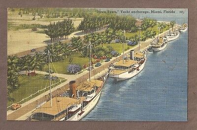 VINTAGE POSTCARD UNPOSTED LINEN DOWN TOWN YACHT ANCHORAGE MIAMI FLORIDA