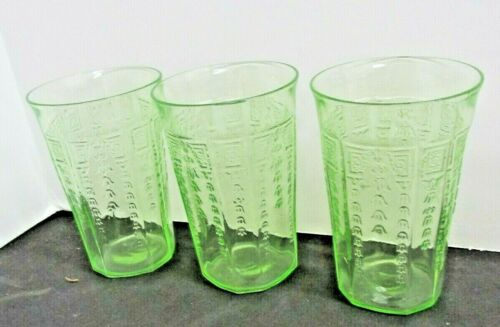PRINCESS GREEN  ANCHOR HOCKING 1931-1935  JUICE 3 LOT FLAT JUICE GLASSES TUMBLER