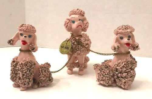 Vintage ceramic spaghetti poodles, mom w 2 pups blueblood tag japan kitsch