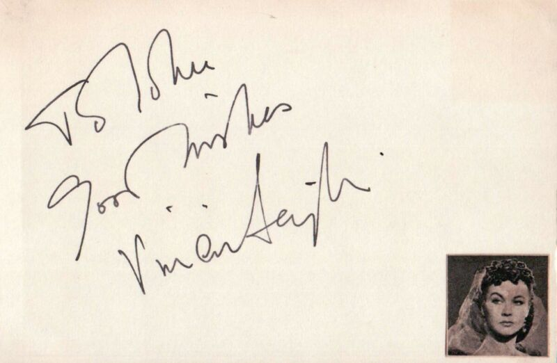 Vivien Leigh Autographed Index Card Gone with the Wind JSA BB50827