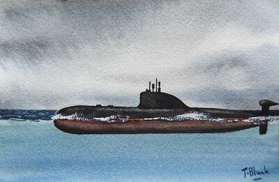 ORIGINAL AQUARELL - U-Boot der Akula Klasse.