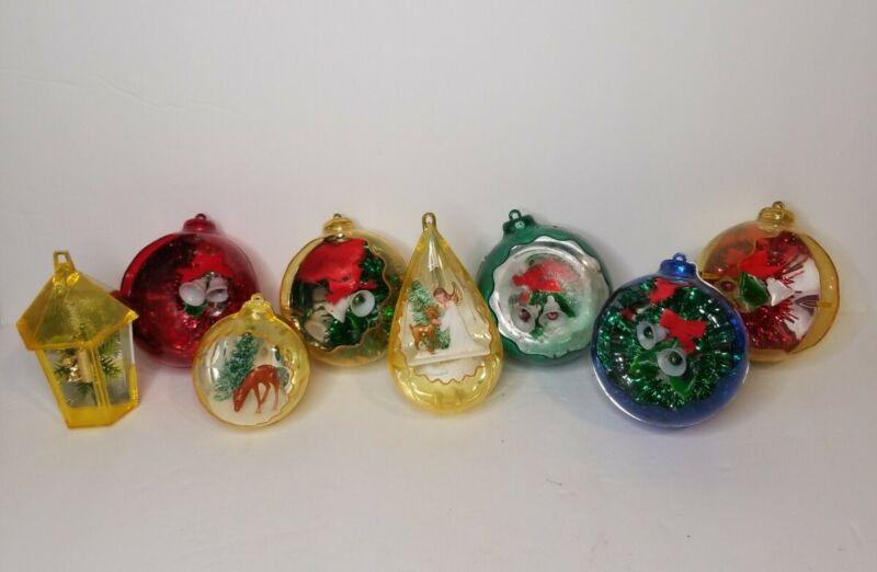 Vtg Christmas Jewel~Brite Plastic Diorama Ornaments *Lot Of 8