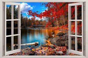 Adesivi da parete finestra effetto 3d lago autunno for Adesivi da parete 3d