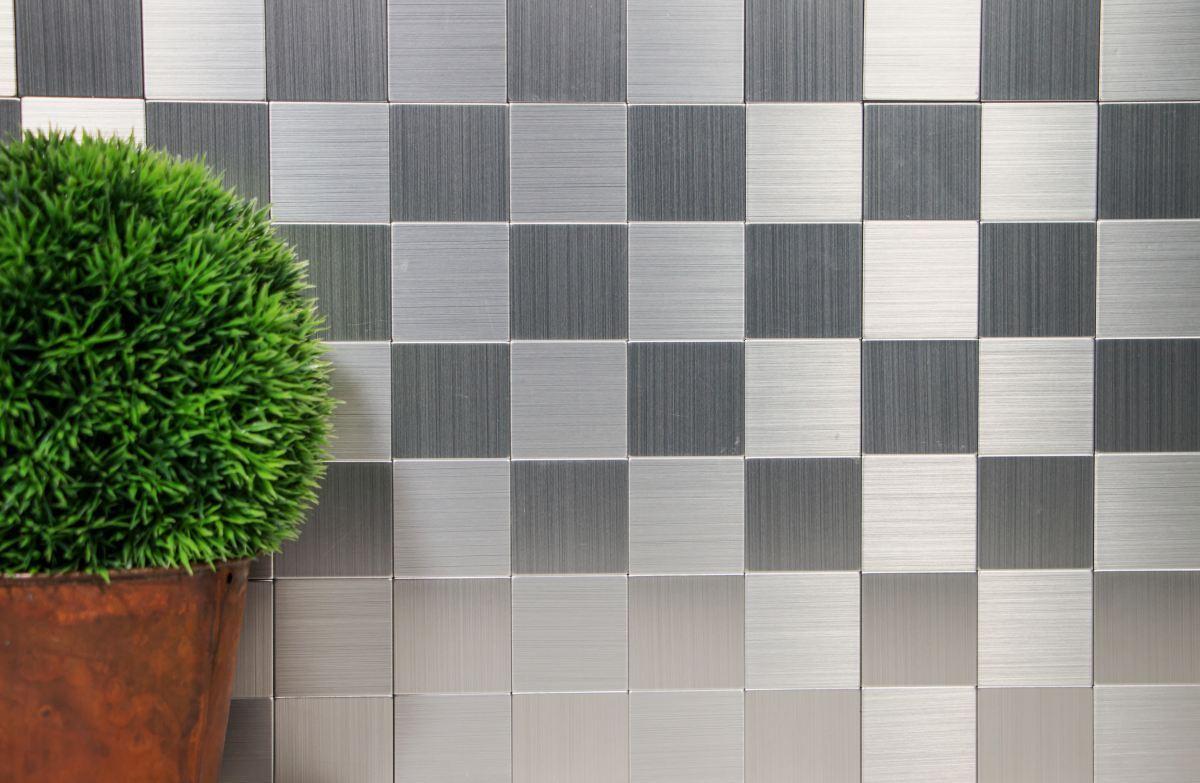 Silber Mosaik K Chenr Ckwand Fliesenspiegel Selbstklebend Metall Wb200 4mm99 Ebay