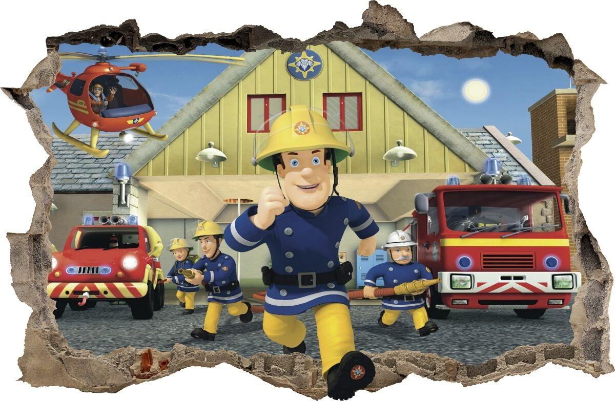 WALL STICKERS Hole Firefighter FIREMAN SAM Sticker Vinyl Decal Decor Mural 47