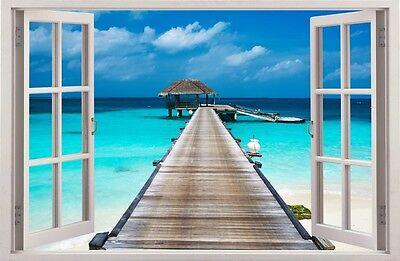 R 3D Tropischen Insel Wand Dekor Aufkleber Wandtattoo 05 (Tropische Wand-dekor)