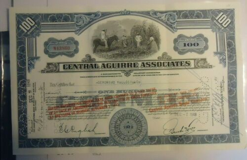 PUERTO RICO-CENTRAL AGUIRRE ASSOCIATES Stock Certificate with SCARCER HANDSTAMPS