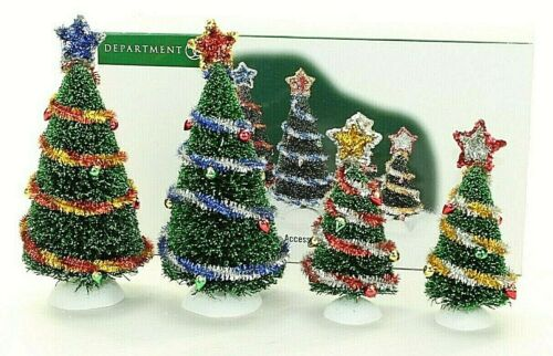 Department 56 Village Accessories 53012 Tinsel Trees Set of 4 Landscape Boxed
