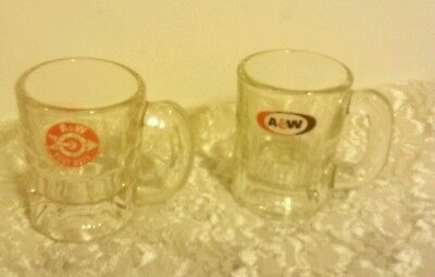 Vintage A & W Child's Root Beer Mugs ... 2 Different Logos Excellent Graphics !