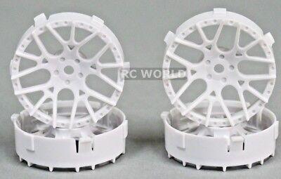 Tetsujin LYCORIS RC Car 1/10 Wheels WHITE Adjustable Offset 3-6-9mm -4 RIMS