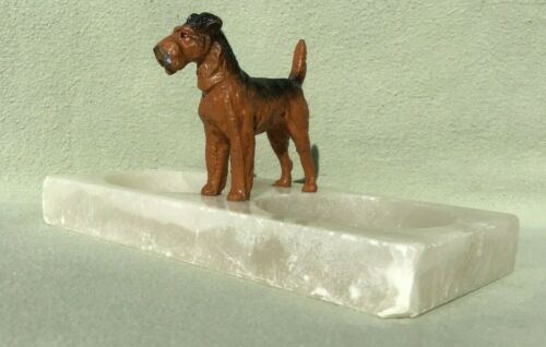 Vintage Metal Airedale Terrier on Marble Base Double Trinket Dish