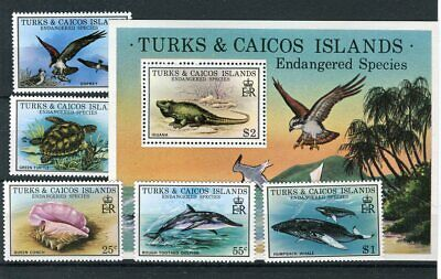 Turks & Caicos QEII 1979 Endangered Wildlife SG534/8 + MS539 MNH