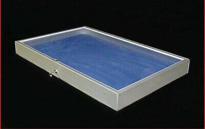 Portable Made In The Usa Aluminum Glass Jewelry Display Case Silver Showcase New