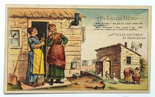 Antique Arbuckle's Coffee Trade Card Comic Texas Siftings On Calling Terms A48