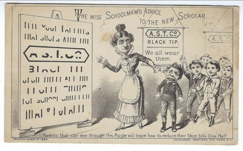 Hold-To-The-Light Trade Card, A.S.T. Co. Black Tips for Shoes, 1880