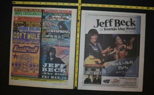 Jeff Beck 1999/2010 2PC Concert Ad Lot Imelda May Band Lyle Lovett Gov