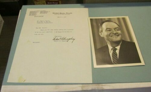 1960 Minnesota Democratic Senator Hubert Humphrey Autograph Signed Letter Photo