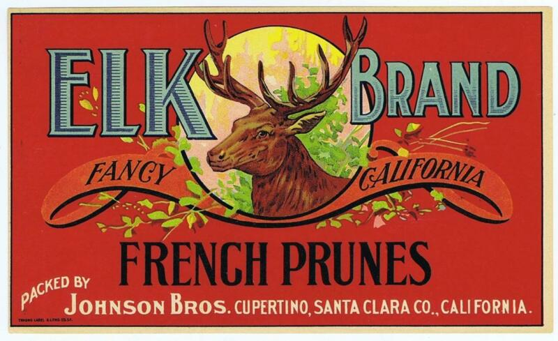 Elk Brand  vintage French Prunes  crate label Johnson Bros Cupertino CA