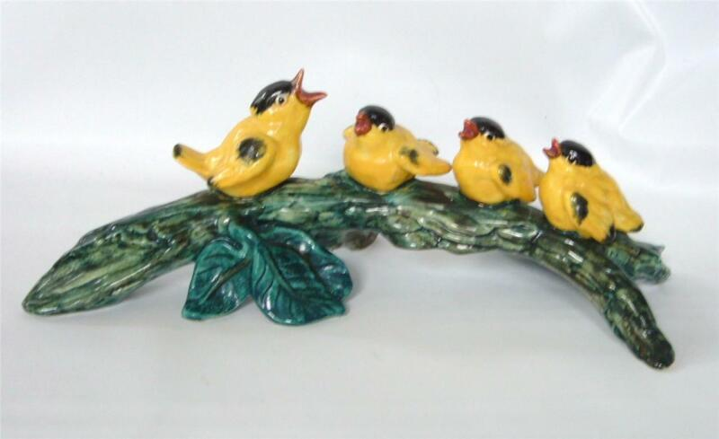 "Vintage Stangl Art Pottery 4 Birds On A Branch Figure Sculpture Goldfinch 12"""