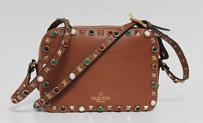 New $1945 Valentino Rolling Rockstud Crossbody Cognac Leather Bag