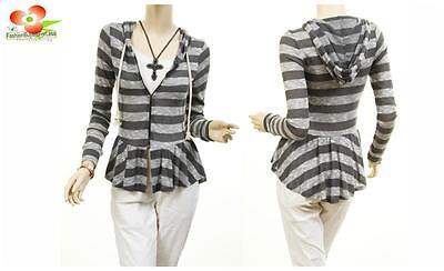 Women Gray Long Sleeve Knitted Stripe Hoodie Pleated Ruffle Sweater Cardigan Top - Long Sleeve Ruffle Cardigan