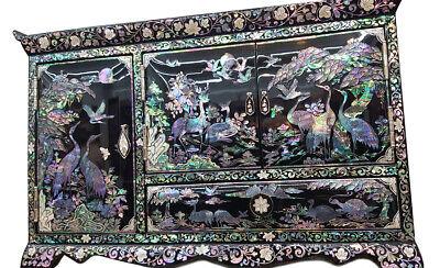 Boîte à Bijoux Grand Coffre Luxe Rare Symbole Taoiste Bois Nacre Corée Antique