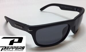 576abe3118ef3 NEW Peppers Eclipse Matte Black Grey Polarized Mens Sport Wrap Sunglasses  Ret 35