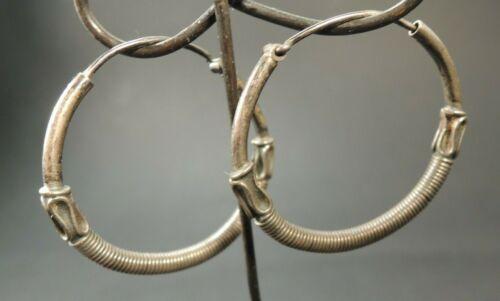 Antique Middle Eastern Silver hoop Ear Earrings