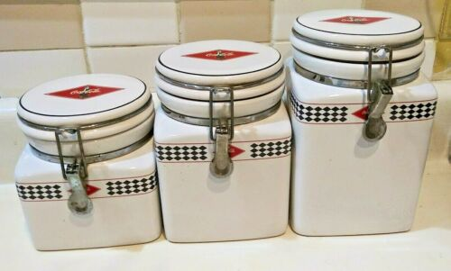 Vintage 3 pc Gibson Ceramic Coca Cola Canister Set