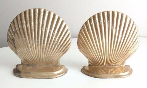 Distressed Brass Sea Shell Clams Book Ends Mermaid Nautical Beach Decor Ocean