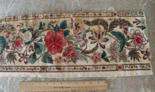 """Antique French c1830 Block Printed & Resist Indienne Border Fabric~65""""X5.5"""""""