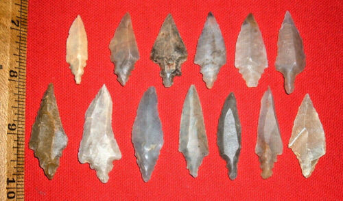 (13) Choice Sahara Mesolithic Stemmed Points, Prehistoric African Artifacts
