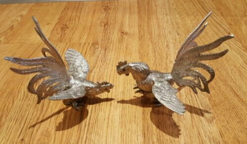 """Fighting Cocks Roosters Silver toned metal detailed Gamecocks 5"""" tall VTG"""