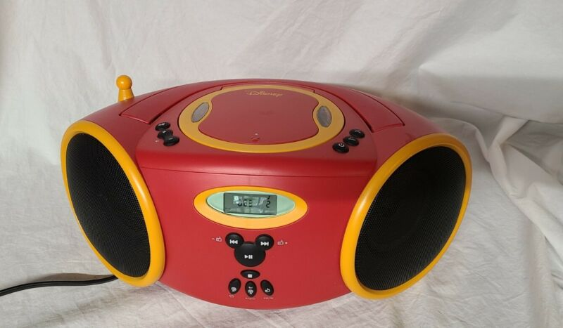 Vintage Disney Boombox CD Player Radio 2003 Mickey Mouse Red Yellow Black Color