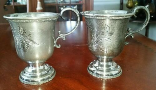 Victorian Christening Cups Silver Plated Goblets Lot of 2
