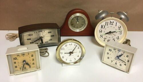 Vintage Alarm Clock Lot Westclox Dialite Minikin Baby Ben General Electric Fina