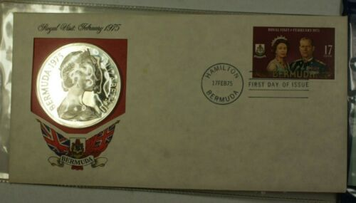 1975 Bermuda Proof $25 Silver Coin w/ COA and First Day of Issue Stamp